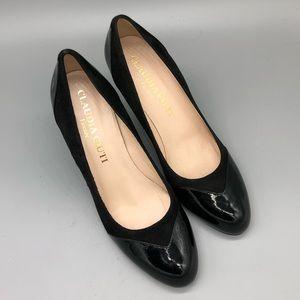 e40b32aa3 Claudia Ciutu black patent round toe pumps career